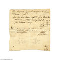 "Miscellaneous:Ephemera, 1784 Document - Anthony Wayne's Son Takes Dancing Lessons A onepage handwritten document, Philadelphia, July 26, 1784, 6.5""..."