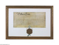Miscellaneous:Ephemera, William Penn Authorization for the Sale of Oley Signed by a JamesLogan, this document defines the layout for the town of Ol...