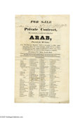 "Miscellaneous:Ephemera, 1827 British Ship Sale Broadside - The Brig ARAB An excellent large broadside, printed front and back, 10"" x 16"", advertisin..."