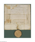 "Miscellaneous:Ephemera, 1794 Georgia Land Grant Document A partly-printed document,completed in manuscript, dated December 9, 1794, 12"" x 12.5"". G..."
