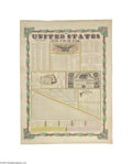 """Antiques:Posters & Prints, 1846 Hand-colored Print - United States at One View Offered here isan oversized (22"""" x 30"""") print showing all sorts of figu..."""