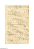 """Miscellaneous:Ephemera, Gen. Anthony Wayne's Son Petitions Congress Document A six plus page manuscript document, 10"""" x 16"""", not dated (but likely c..."""