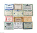 Miscellaneous:Ephemera, Collection of 31 Foreign Stocks and Bonds Includes the following:1. Autobus Belges stock, Belgium, 1924. Attractive grap...