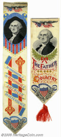 Political:Ribbons & Badges, Pair of George Washington 1876 Centennial Jacquard Ribbons Here is a pair of wonderful George Washington woven ribbons comme...