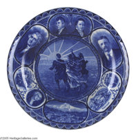 1905 Lewis and Clark Exposition Souvenir Flow Blue Plate On June 1, 1905 the first World's Fair to be held in the Pacifi...