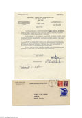 Transportation:Aviation, 1938 Letter of Credit Document Signed by Howard Hughes July 1938was a landmark month for Howard Hughes and the continued ad...