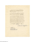 Transportation:Aviation, 1938 Important Howard Hughes Signed Aviation Document In 1938Howard Hughes bought a new Lockheed L-14, gutted it, redesig...