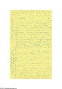 "Howard Hughes' and Jean Peters' Handwritten Note ""Please Send Me Some Flowers"" Movie actress and billionaire H..."