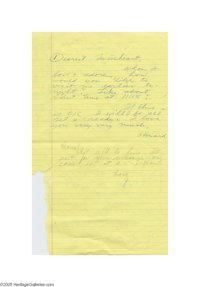 Howard Hughes' and Jean Peters' Handwritten Notes Mention Baseball Game Through their years of marriage, Howard Hughes a...