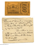 Political:Small Paper (pre-1896), Ford's Theater Admission Ticket From Night of Lincoln's Assassination Civil War Union Major J. Franklin Fitts of the 114th R...
