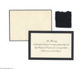 Political:3D & Other Display (1896-present), President Warren G. Harding Mourning Cloth and Mourning Card MaggieRogers served as the First Maid of the White House durin...