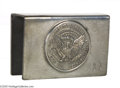 Political:3D & Other Display (1896-present), FDR Pewter Matchbox Holder Although not considered to bepolitically correct today, President Franklin D. Roosevelt will be...