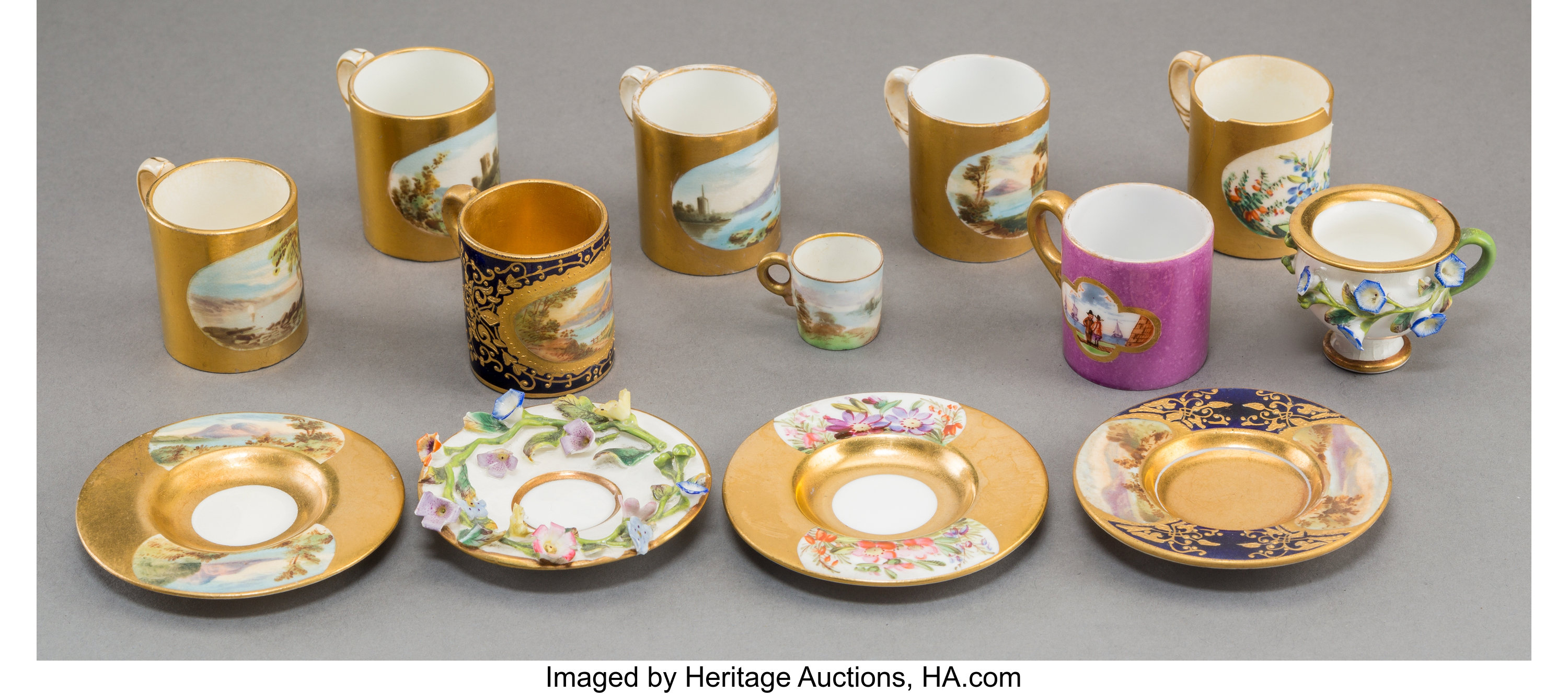 Thirteen English and German Miniature Porcelain Cups and