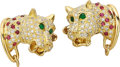 Estate Jewelry:Cufflinks, Diamond, Multi-Stone, Gold Cuff links . ...