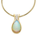 Estate Jewelry:Pendants and Lockets, Opal, Diamond, Gold Pendant-Necklace. ...