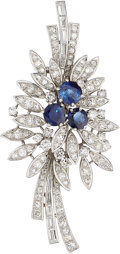 Estate Jewelry:Brooches - Pins, Sapphire, Diamond, White Gold Brooch, Wolfers. ...