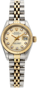 Estate Jewelry:Watches, Rolex Lady's Diamond, Gold, Stainless Steel, Datejust Watch. ...