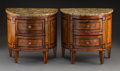 Decorative Arts, Continental, A Pair of Miniature Louis XVI-Style Inlaid Demilune Commodes withMarble Tops, probably Italian or French, first half 19th c...(Total: 2 Items)