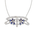 Estate Jewelry:Necklaces, Diamond, Enamel, White Gold Convertible Brooch-Necklace. ...