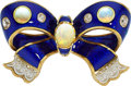 Estate Jewelry:Brooches - Pins, Antique Diamond, Opal, Enamel, Gold, Yellow Metal Brooch. ...