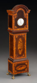 Clocks & Mechanical:Clocks, A Miniature George III-Style Mahogany and Satinwood Inlaid Tall Case Clock, 19th century. 15-1/4 inches high (38.7 cm). ...