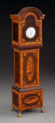 A Miniature George III-Style Mahogany and Satinwood Inlaid Tall Case Clock, 19th century 15-1/4 inches high (38.7