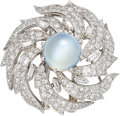 Estate Jewelry:Brooches - Pins, Cat's-Eye Moonstone, Diamond, White Gold Brooch. ...