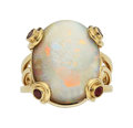 Estate Jewelry:Rings, Gentleman's Multi-Stone, Gold Ring The ring fe...