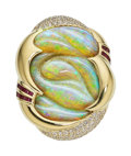 Estate Jewelry:Pendants and Lockets, Boulder Opal, Diamond, Ruby, Gold Brooch-Pendant. ...