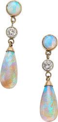 Estate Jewelry:Earrings, Opal, Diamond, Gold Earrings. ...