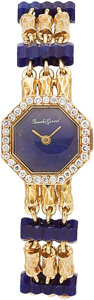Estate Jewelry:Watches, Bueche-Girod Lady's Diamond, Lapis Lazuli, Gold Watch. ...