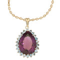 Estate Jewelry:Pendants and Lockets, Amethyst, Aquamarine, Gold Pendant-Necklace. ...
