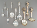 Silver & Vertu:Flatware, A Nine-Piece Danish and American Silver Flatware Serving Group, 20th century. Makers including Georg Jensen, W.S. Sorensen... (Total: 9 Items)