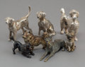 Decorative Arts, Continental, Seven German Silver and Austrian Cold-Painted Bronze Dog Figures. Marks to three: 800. 1-3/4 inches high (4.4 cm) (talle... (Total: 7 Items)