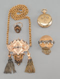 Jewelry:Lots, A Four-Piece Group of Gold Jewelry Purportedly Owned by Empress Carlota of Mexico, late 19th-early 20th century. 19 inches l... (Total: 4 Items)
