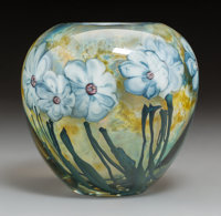 A Josh Simpson Internally Decorated Glass Violets Vase, 1982 Marks: Simpson, 1
