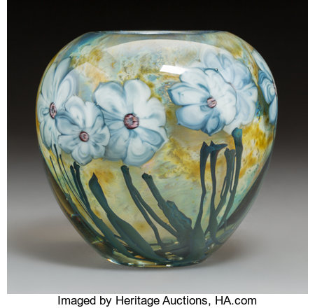 A Josh Simpson Internally Decorated Glass Violets Vase, 1982Marks: Simpson, 1982, 10-2477 inches high (1...