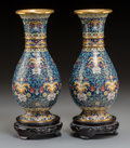 Asian:Japanese, A Pair of Japanese Cloisonné Enameled Vases with Stands. 10-1/8inches high (25.7 cm) (without stands). ... (Total: 2 Items)