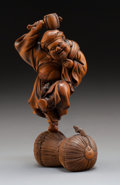 Asian:Japanese, A Whimsical Japanese Carved Boxwood Daikokuten Figure. Marks:(carved artist signature). 6-1/4 inches high (15.9 cm). ...