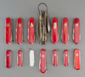 Decorative Arts, Continental:Other , Eleven Victorinox Swiss Army Knives and Three Various Knives,post-1945. Marks: Engraved VICTORINOX, SWITZERLAND...