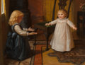 Fine Art - Painting, American, Ida Waugh (American, 1820-1919). Baby's First Steps. Oil oncanvas. 17-1/4 x 22-1/4 inches (43.8 x 56.5 cm). Signed fain...