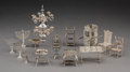 Decorative Arts, Continental, Fourteen Miniature Silver Furniture Pieces, early 20th century andlater. Marks: (various). 4-3/8 inches high (11...