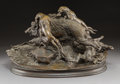 Sculpture, After Jules Moigniez (French). Boar Hunt with Four Dogs. Bronze with brown patina. 13 inches (33.0 cm) high. Inscribed o...