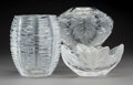 Art Glass:Lalique, Three Lalique Clear and Frosted Glass Vases, post-1945. Marks:Lalique, France. 7-1/2 inches high (19.1 cm) (tallest). ...(Total: 3 Items)