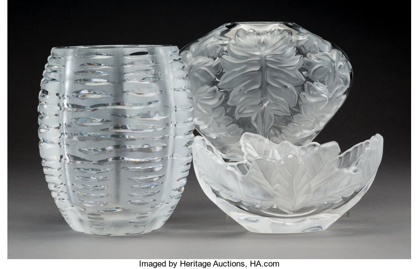 Three Lalique Clear And Frosted Glass Vases Post 1945 Lot 61886