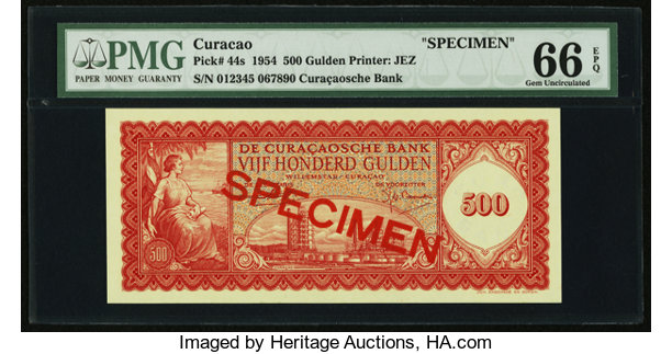 World Currency Curacao De Curacaosche Bank 500 Gulden 25 11 1954 Pick 44sspecimen