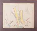 Military & Patriotic:Indian Wars, Ledger Drawing: An Exceptionally Large and Bright Example....