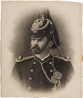 Military & Patriotic:Indian Wars, Captain Myles Keogh: Swashbuckling Photographic Portrait in Dress Uniform, circa 1874. Belonged to the Keogh Family.... (Total: 2 Items)