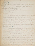 Military & Patriotic:Indian Wars, Sheridan's Report on the Reburial of the Little Bighorn Dead: A True Copy Dated, July 20, 1877, signed by Lt. Col. James Forsy...