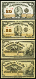 Canadian Currency, DC-15c 25¢ 1900 (2);. DC-24c 25¢ 1923 (2).. ... (Total: 4 notes)